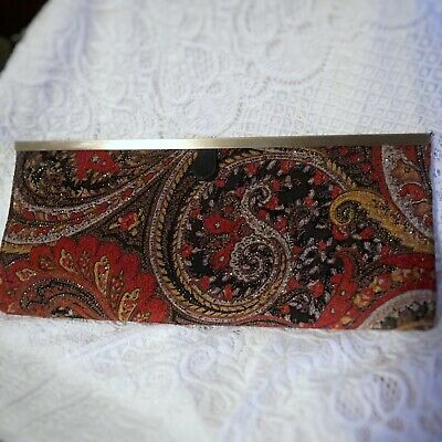 Womens Gold Metal Frame Clutch Black Red Paisley Velvet Chinese Laundry New Tags