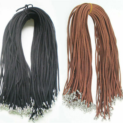 Wholesale Price 10pcs Black Brown Suede Leather String 20 inch Necklace Cord DIY