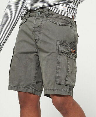 New Mens Superdry Core Lite Ripstop Cargo Shorts Oil Skin Grey