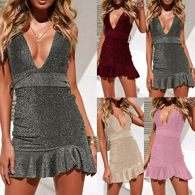Fashion Womens Sexy Off Shoulder High Bodycon Solid Dress Sleeveless Dresses CA