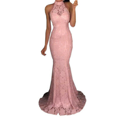 Sexy Womens Sleeveless Halter Neck Lace Tight Dress Cocktail Prom Gown Dress CA