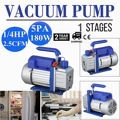 2.5CFM HVAC AC Rotary Vane 1/4HP Deep Single Stage Vacuum Pump Refrigerant Blue