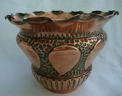 Antique Art Nouveau Arts And Crafts Copper Planter Pot Decorative