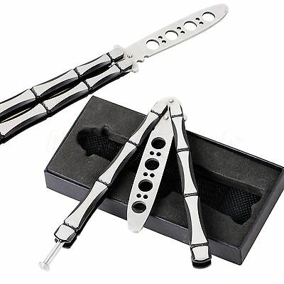 Metal Practice Balisong Butterfly Trainer Training Knife Dull Tool + Sheath+ Box