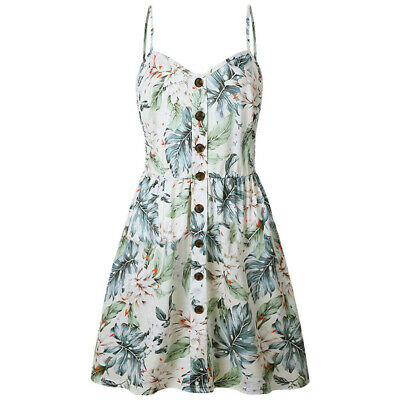 Fashion Women's Sling Sleeveless V-Neck Flower Print Button Party Princess Dress