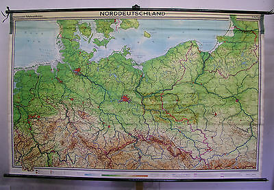 School Wall Map GDR Germany Wall Map Prussia Silesia 1963 94 7/8x61in map