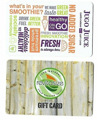 2 Collectible store JUGO JUICE REVITASIZE gift cards