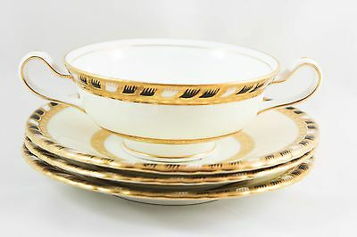 Tiffany Minton Bone China H4274 Cream Soup Bowl & Saucer Raised Gold Encrusted