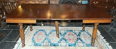 Antique 1900 solid oak Arts & Crafts DINING TABLE 3 leaf extending to 6 seat 4-8