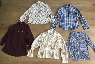 Bundle Women's Blouses Shirts Size 12 Floral Checked