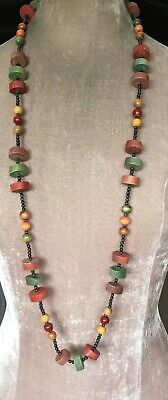 Vintage Art Deco Jewellery lovely unusual long wooden bead necklace