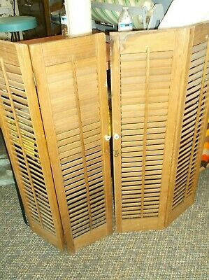 2 Sets Vtg Indoor Louvered Shutters 4 Panels Architectural Salvage Wooden 36""