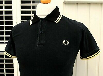 Fred Perry Black/Gold Twin Tipped Pique Polo - XS/S - Mod Ska Scooter Workwear