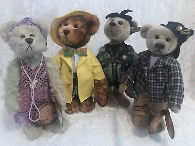 Group Of Four Brass Button Bears - Collectible (20's, 30's, 80's, 90's) W/stands