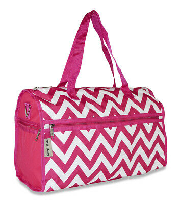 Pink Chevron Canvas Duffle Bag Duffel Gym Sports Travel Luggage Carryon Carry