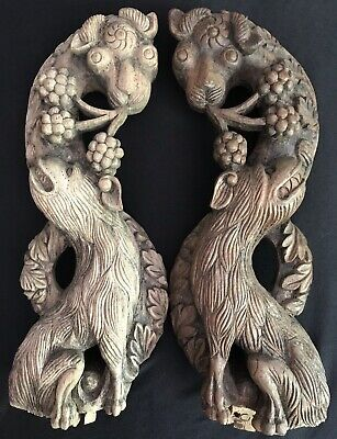 "Antique Architectural Salvage Asian Wood Carved 13"" Figural Corbel Pair"