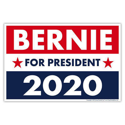 "Political Campaign Yard Sign w/Stake, Bernie Sanders 2020, Two-Sided, 18"" x 12"""