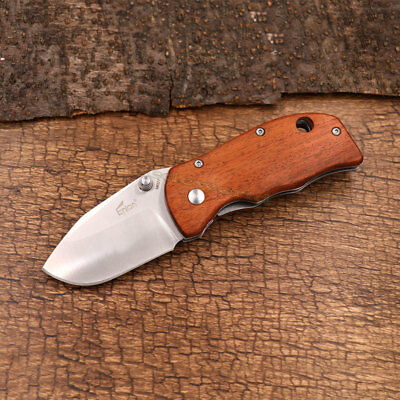 Enlan M027 Pocket Clip Folding Knife 8Cr13mov Stainless Steel Red Wooden Handle