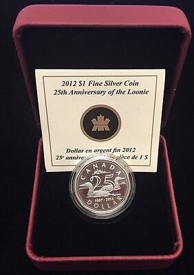 2012 Canada 25th Anniversary of the Loon - Proof $1 Coin .9999 Fine Silver Coin