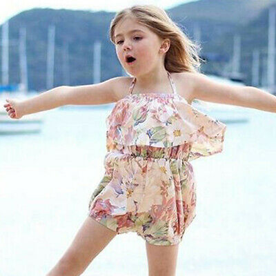 Summer Kids Baby Girls Strap Ruffled Floral Romper Jumpsuit Outfit Clothes 0M-4Y