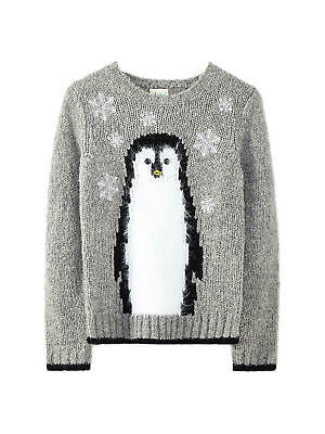 Yumi Girl Penguin Jumper / Grey 9-10 Years Brand New With Tags Free UK Postage