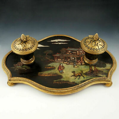 Antique French Chinoiserie Coromandel Lacquer Gilt Bronze Inkwell Inkstand