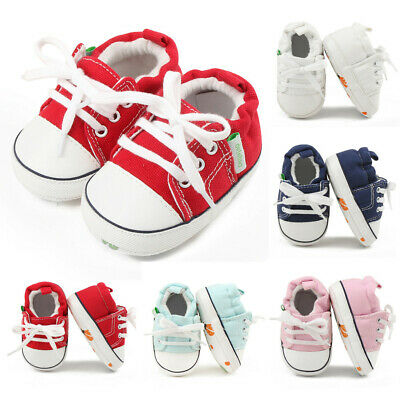 Newborn Baby Girls Boys Canvas Sneaker Anti-slip First Walkers Soft Sole Shoes