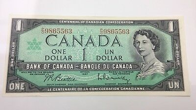 1967 Canada Uncirculated 1 One Dollar PO Prefix Canadian Banknotes J728