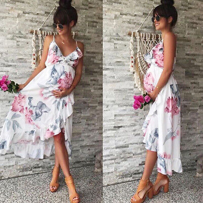 Summer Women Mother Casual Floral Falbala Pregnant Dress For Maternity Clothes A