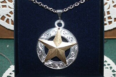 NwD Montana Silversmiths Necklace Silver~w~Gold Texas Star Daily Deal Buy it Now