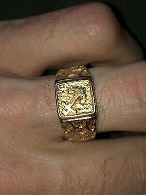 Antique vintage Islamic arabic persian 18ct Gold Sailor Ring
