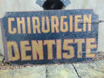 ANTIQUE 19thC FRENCH SHEET METAL DENTAL SURGEON TRADE SIGN CHIRURGIEN DENTISTE
