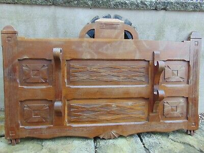 Antique French Farmhouse Solid Wood Carved Double Shotgun Rifle Display Rack