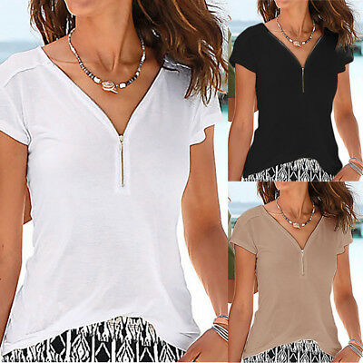 Women Summer Sexy V Neck Blouse T Shirt Ladies Short Sleeve Casual Shirts Top AB