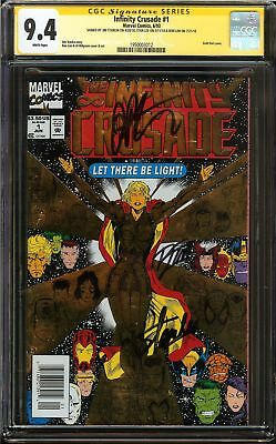 Infinity Crusade #1 CGC 9.4 Signed 3x STAN LEE WARLOCK Avengers Gold Foil Cover
