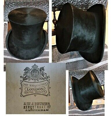 Viktorianisch Antik Zylinder 1850 London Gothic Steampunk silk hat antique