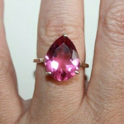 Vintage Art Deco Style Large Pear Cut 'Rubellite' Crystal Silver Ring