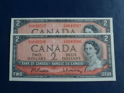 1954 Canada 2 Dollar Bank Note-Beattie/Raminsky CR0049506-07-UNC Cond 19-268