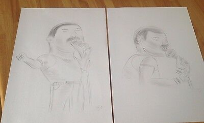 2 X Freddie Mercury Queen Caricature Funny Comedy Pencil Drawing Picture