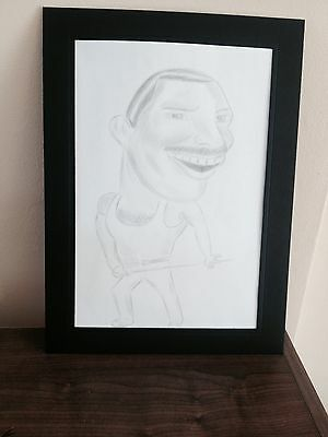 Framed Freddie Mercury Queen Caricature Funny Comedy Pencil Drawing Picture