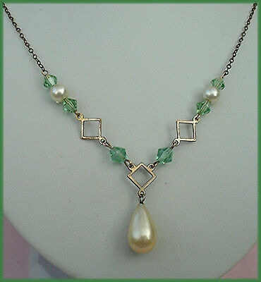 ART DECO NECKLACE GREEN BICONES, DIAMOND SQUARE LINKS & PEARL DROP VINTAGE 1930s