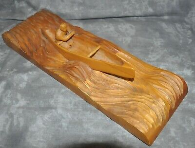 """The Country Woodcarver"" Wooden Finely Hand-Carved Canoe w/ Rower 4.5"" x 14"""
