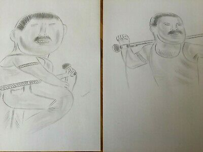 2 X Freddie Mercury Queen Caricature Funny Comedy Pencil Drawings Pictures