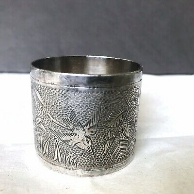 Antique Napkin Ring Leona Silverplate with an Aesthetic Movement motif