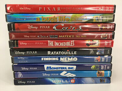 Lot 11 - Pixar ONLY DVD Movies Brave Cars Incredibles Nemo Monsters Up Wall-E