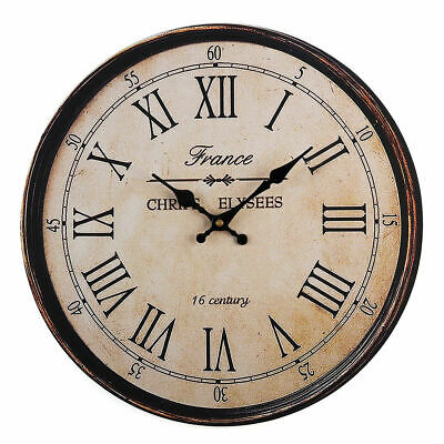 Vintage Rustic Wooden Wall Clock Antique Shabby Retro Home Kitchen Room Decor