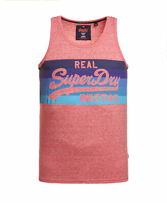 New Mens Superdry Vintage Logo Cali Stripe Vest Top Sunbleached Red