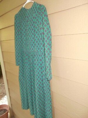 Vintage Laura Ashley Dress Green 100% Cotton Prairie Style Size 12 Pre-Owned