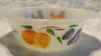 Vintage ANCHOR HOCKING FIRE-KING GAY FAD FRUITS PATTERN 1 PINT CASSEROLE #445