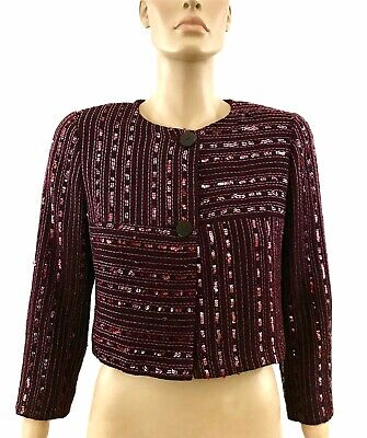 Chanel 00C Maroon Sequined Cropped Tweed Jacket Size US10 | FR40